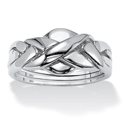 Commitment Symbol Puzzle Ring in Platinum over Sterling