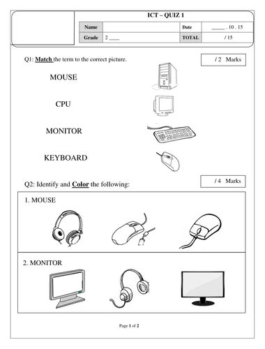 Parts of a computer worksheet | Elementary computer lab