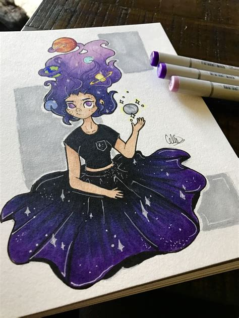 Galaxy girl with planets tangled in her hair!! :3 go check