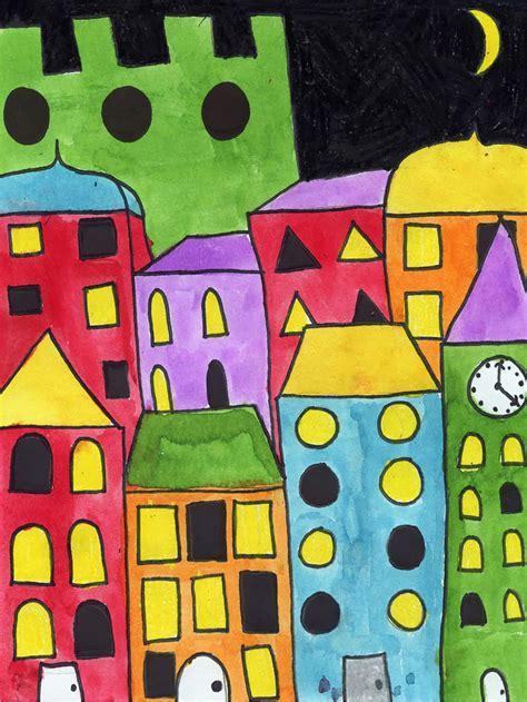 Painting Layered Buildings - Art Projects for Kids