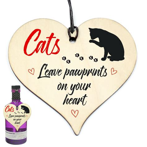 #1138 Cats Leave Paw Prints On Your Heart Wood Hanging
