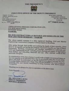 DP Ruto's LETTER to CHINESE Company asking them OFFER