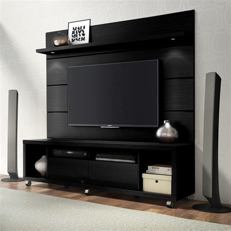 Cabrini Black TV Stand & Floating Wall TV Panel w/1