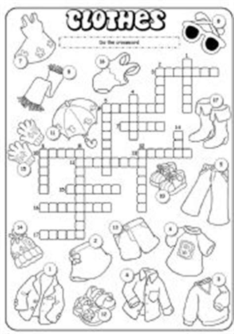 Clothes crossword worksheets