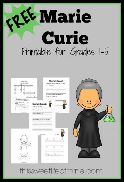 Marie Curie Printable for Women's History Month