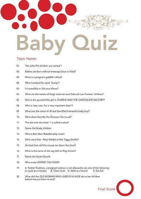 Baby Shower Quiz | I got sick of looking for a fun baby
